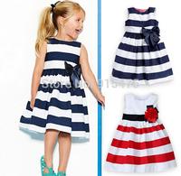 Free Shipping 2014 Baby Girl Striped Dress Girls Princess Dresses Kids Clothing Girls' Dresses Costumes