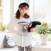 Spring Autumn Women Long Sleeve Cute Owl Pajamas Sleepwear Casual Nightwear Pajama Set Pyjamas Home Clothing