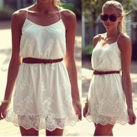 New 2014 Summer Desigual Dresses S-XLarge Size White Flower Lace Vestidos Femininos Roupas Casual Women Dresses Free Shipping