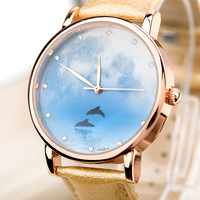 2014 New Arrival Hight Quality  Rose Gold Case Women Leather Watch Women Dress Watches Christmas Gift ML0598
