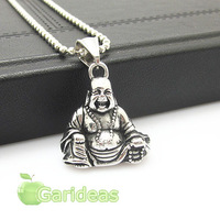 Men Stainless Steel Silver Black Buddha Chain Pendant Necklace Item ID:4746