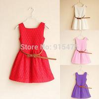 Retail 2014 Summer New fashion Girls princess dress Girls little sexy V-neck back zipper dress Children's clothing baby