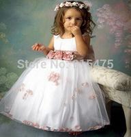 Retail 2014 Summer children's dress fashion Girls wedding dress girl bowknot flower pageant dress kids clothes