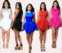 2014 New Summer 5 colors Bandage Dress Sexy Eenschin Mini Sleeveless O-neck Bodycon Club Dresses