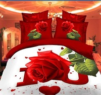 13030 red green pink  white cream  flowers rose Cotton queen size Duvet / Quilt Cover Bedding sets sheet pillowcase