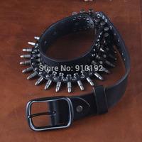 Personalized bullet belt men's vintage metal pin buckle cowhide non-mainstream punk rock belts