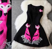 2014 New Space Cotton Winter Dress Vintage Cartoon Fox Embroidery Desigual Slim Elegant Vestido De Fiesta Celebrity Dresses 2271