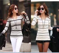 blouse women 2014 Autumn women plus size Round neck printing Slim long sleeve striped t-shirt