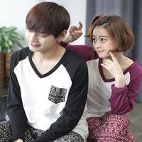 Couples Lovers Long Sleeve Cotton V-neck Pajamas Set Sleepwear Casual Home Clothing Nightwear Pijama Women Men's Pajamas
