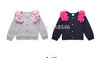 FREE SHIPPING 5pcs/lot children's clothing girls long sleeve flower blouses girls Korean style polka dot blouses