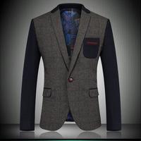 2014 Autumn New England Style Gentleman Wool Blazer Coat Patchwork Fashion Men's Business Party Woolen Suit Jackets