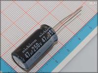 100Pcs 13mm*25mm 47uF 250V High Voltage Through Hole Alumilum Electrolytic Capacitor