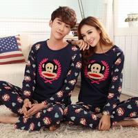 Men Women Long Sleeve Cartoon Monkey 100% Cotton Pajama Set Home Clothing Casual Sleepwear Nightwear Pajamas, Women's Pyjamas
