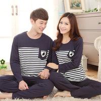 Spring Autumn Winter Men Women Pajama Set Long Sleeve 100% Cotton Striped Sleepwear Casual Home Clothing Nightwear Pajamas