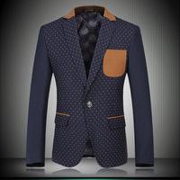 High Quality Fashion Gentleman Slim Business Party Suit Jackets Patchwork Print Polka Dot Plus Size XXXL Men's Work Blazer Coat