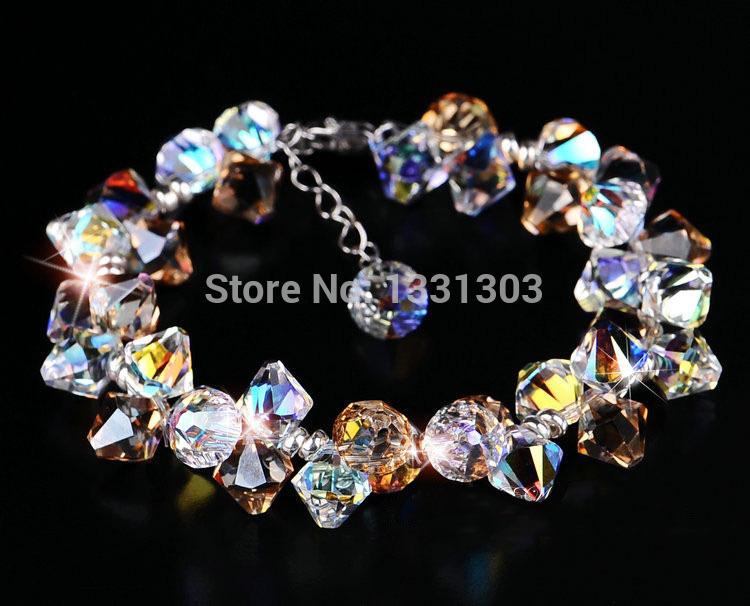 Brand New Handmade Luxury Jewelry 925 Sterling Silver Natural Austria Crystal Bracelet&Bangle Women Girls Elegant Christmas Gift(China (Mainland))