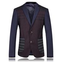 High Quality Luxury Noble Celebrities Casual Male Suit Coat Plus Size Patchwork Woolen Men's Business Party Blazer Jackets