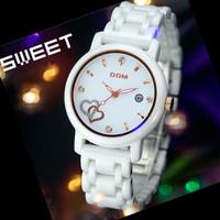 2014 Brand new Dom T-580 Korean ceramics waterproof quartz watches women calendar wristwatch women dress watch relogio feminino