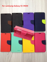 1pcs/lot Colorful MERCURY Leather Case Korea Style Wallet Leather Flip Cover Stand Phone Case for Samsung S5 i9600+Card Slot