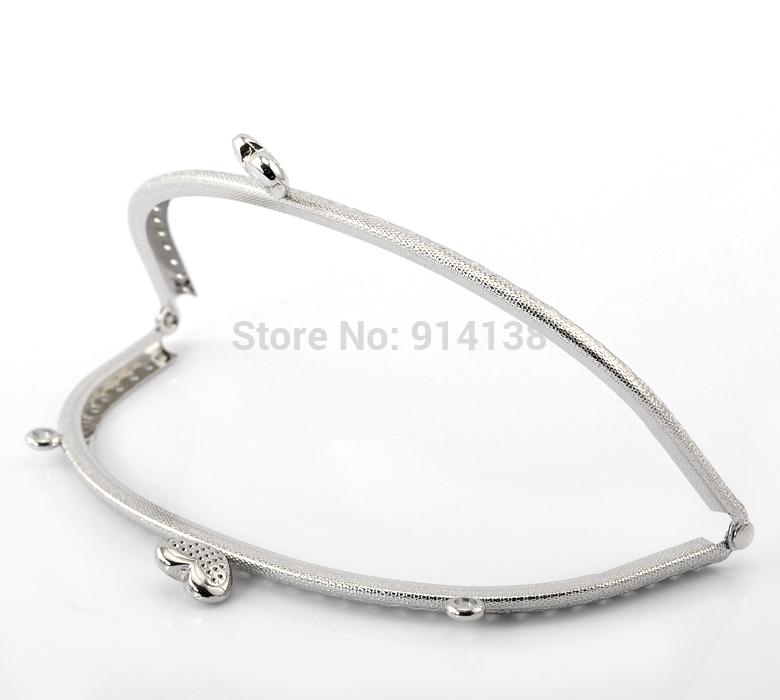 Free Shipping 2PCs Silver Tone Heart Purse Bag Metal Frame Kiss Clasp Lock 16.5x8.5cm B01467(China (Mainland))