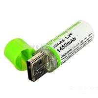Free shipping 2pcs/lot 1450mAh 1.2V USB Rechargeable AA USBBatt Battery Batteries