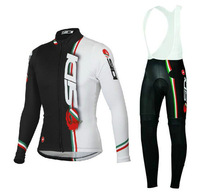 5XL Men's Long Cycling Suit 2014 SIDI White new maillot Long Sleeve bike jersey + Bib Pants with Gel pad Cheap Cycling Jersey