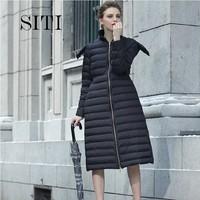 SITI 2014 NEW  Fashion luxury high quality portable soft hooded long black down coat woman jacket 13DC036A