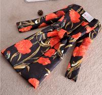 Winter Coat Jacket Women 2014 Outerwear Elegant Vinatge Print Floral Coat Thick Plus Size Slim Long Coat Parka Overcoat