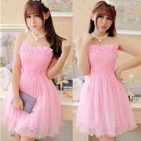 Hot Wind Grenadine women's formal dress flowers Sweet lace bridesmaids Dresses sleeveless Mini gowns pink/purple one size