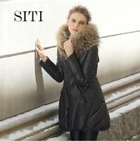 SITI 2014 NEW luxury high quality Down Jacket Fashion Womens Down Coat +luxury raccoon Fur scarf,3 Color,S-2XL,13DC020