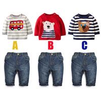 wholesale 6set/lot boy gril clothes ,long sleeve thin sweater denim pants 2pcs set baby clothes casual kid clothes
