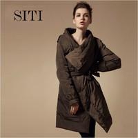 SITI 2014 New Fashion Women Down Jacket  Long Irregular collar winter black Army green ruffles Down Coat,XS-XXL,12DC026