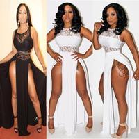 2014 Summer Bodycon Bandage Dress On Both Sides Of The Bifurcation Bare Legs Sexy Nightclub Maxi Dress