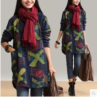 2015 women dress Autumn&winter dress Korean style Plus size M-XXL casual dress printed long-sleeved o-neck large loose dress