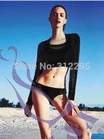 Freeship S M,L 5HZ660 High Waist Lace Long Sleeve 2015 New Women Brand Swimwear Bikini Sets Famle Fashion Sexy Swimsuit Latest