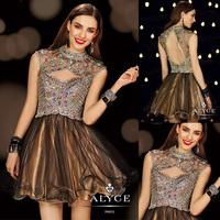 Sexy High Neck Crystal Beaded A-line Mini Vestidos De Festas 2014 Curto Cocktail Dress E201