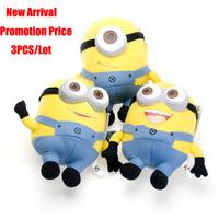 Promotion Hot Selling 3pcs / Lot Despicable ME Movie Plush Toy 18cm Kawaii Kids Brinquedos Minion Jorge Stewart Dave 3D Eyes