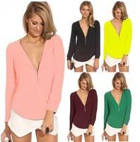 New 2014 Women Blouses Long Sleeve Casual V-Neck Zipper Chiffon Blouse Plus Size Blusas Femininas Shirt Tops Sale 2542
