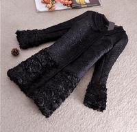 Winter Woolen Coat Jacket Women 2014 Outerwear Black Coat Thick Plus Size Slim Long Coat Parka Overcoat