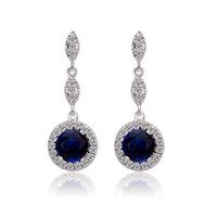 Wholesale Fashion Jewelry Cubic Zirconia Round Drop Earrings for women