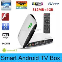 Free Ship + Drop shipping HY-818 Dual Core 4GB Android 4.2 Smart TV XBMC TV BOX Media Player 1080P WIFI HDMI  W/ Remote Control