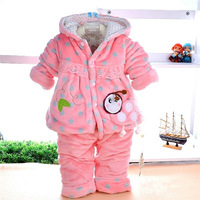 Pink/Yellow Flannel Soft Thick Baby Girl Winter Indoor/Outdoor Costumes Sets XC9638 Kids Clothes Hoodie Coat And Pants Products