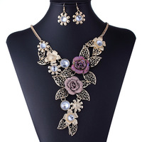 Fashion Jewelry Luxury Gem Women's Short Design Necklace Flowers Chokers Statement Crystals With Earrings XL003