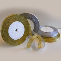 1 x 25 Yard Roll of 12mm Gold  /  Silver Organza Craft Christmas Ribbon Decoration Organza Ribbon