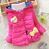 2014 New Winter Kids Clothes Girls Jackets Coats Kid's Outerwear Baby Cotton-padded Coats Baby Girls Love Bow Jackets Hoodies