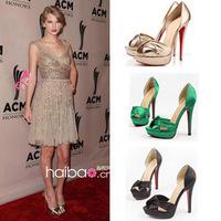 Brand Design Pumps Peep Toe Cross Strap Knot Platform Stiletto Heel Red Sole Satin Evening Dress Women Shoes