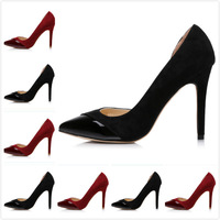 2014 Newest Lady's Black/Red Genuine Leather Pointed Toe Spring/Autumn Pumps,Women's Luxury Brand High Heels Sexy Wedding Shoes