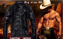 HOT!!! New 2014 brand men's clothing black leather jacket men Short slim fit leather jackets for men coat motorcycle jacket(China (Mainland))