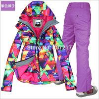 2014 hot womens waterproof ski suit ladies snowboarding suit skiwear colorful geometric figure jacket and purple pants XS-L