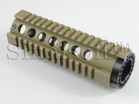 A T3 Style AR T-series  Carbine-Length 7  inch FF Free Float Quad Rail Handguard Picatinny Tube With End Cap FDE